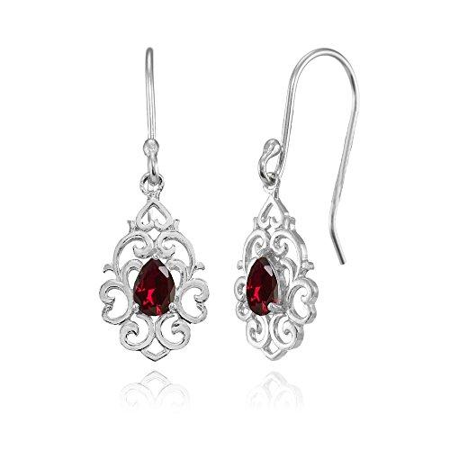 (Sterling Silver Created Ruby Filigree Heart Teardrop Dangle Earrings )