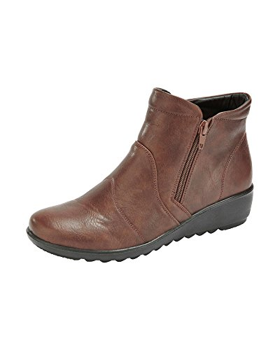 Shoes Traders Cotton Brown Boots Flexisole Womens Dual Ladies Lightweight Ankle Zip RzwAqz