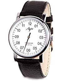 One Hand Luch Mechanical Wristwatch Men's Leather Vintage White 77471760 RUS