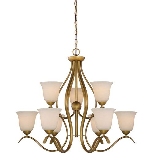 (251 First Evelyn Natural Brass Nine-Light Chandelier )
