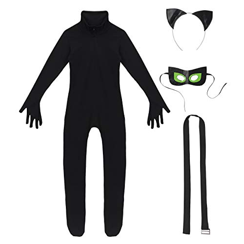 Noblelife Girls Catwoman Black Cat Burglar Halloween Film Costumes Full Body Length Unitard Catsuit Mask Hair Hoop Outfit -