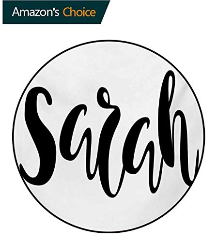 (RUGSMAT Sarah Modern Washable Round Bath Mat,Monochrome Popular Female Name Modern Calligraphy Hand Drawn Signature Lettering Non-Slip Bathroom Soft Floor Mat Home Decor,Diameter-55 Inch)