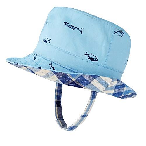 (Baby Boy Girl Sun Hat Cotton, Lightweight Toddler Beach Bucket Hats UPF 50+ Breathable Kids Summer Play Hat for Safari Blue/Fish, M (12-24 Months))
