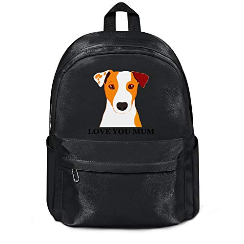 Womens Girl Boys College Bookbag Jack-Russell-Terrier-Dog-'Love-You-Mum'-Coffee- Classic Nylon Packable 13 Inch Laptop Compartment Backpack Bag Purse Black