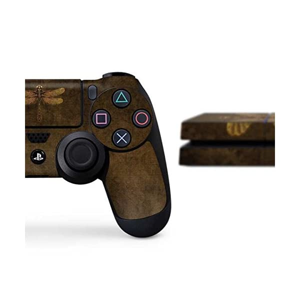 Skinit Decal Gaming Skin Compatible with PS4 Console and Controller Bundle - Officially Licensed Tate and Co. Steampunk & Gear Dragonfly Design 4