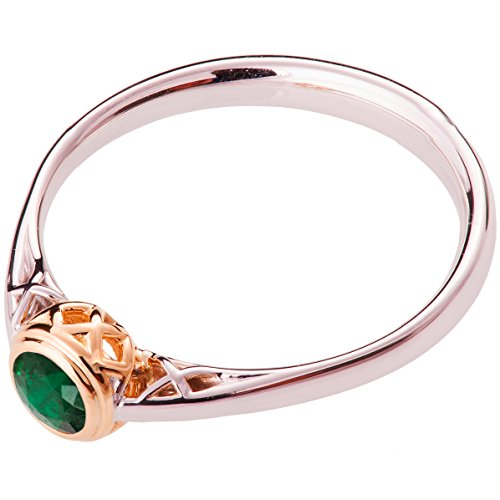 Two Tone Woven Handmade Band - 18k White and Rose Gold Celtic Two Tone Emerald Engagement Ring For Women Promise Band Knot Woven Braided