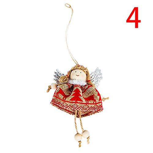 Snowman Ornament Angel (Pendant Wing - Cute 6 Styles Christmas Doll Angel Snowman Santa Claus Pendant Tree Ornament Home Decor - Wooden Angel Pendant Merry Elk Angel Christmas Angel Ornament Silver Snowman Angel Wing T)