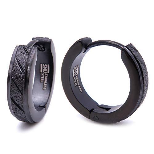 Stainless Steel Mens Hoop Earrings Stripe Whole Black Color Bevel Edge 16mm