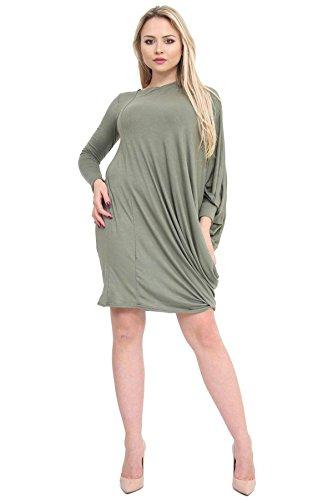 Ladies Mini Sleeve Top Tunic Baggy Dress Batwing Khaki Long Womens Fancy q4fSFx
