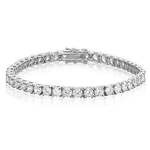 (Divine Elegance Unisex Sterling Silver 4mm Round CZ Tennis Bracelet, 4 )