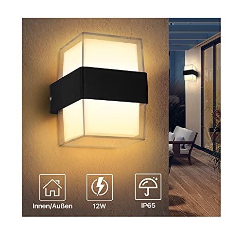 Imoli 12W Aussenleuchten Warmweiß 3000K LED Außenleuchte 1200LM Acryl Außenlampe IP65 Wasserdicht Superhell Für Gärten Terrassen Außenwände usw Wandleuchte Aussen Innen
