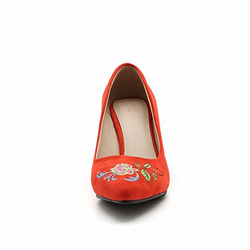 Mee Shoes Women's Fashion Pointed Toe Wedge Heel Court Shoes Red PBscB7ijK