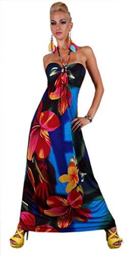 Manches Féminin Floral Robe Licou Avec Des Perles Bleu Et Rouge