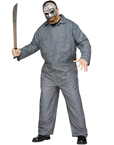 Fun World Men's Plus Size Masked Madman Jason Costume, Multi, Plus Size ()