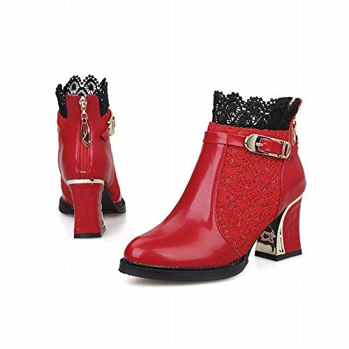 Carolbar Womens Elegance Fashion Charms Sexy Gesp Rits Lace Mid-hiel Jurk Laarzen Rood