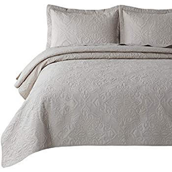 Bedsure Quilt Set Greige King Size (106x96 inches) - Damask Embroidered Pattern Bedspread - Soft Microfiber Lightweight Coverlet for All Season - 3 Pieces (Included 1 Quilt, 2 Shams)