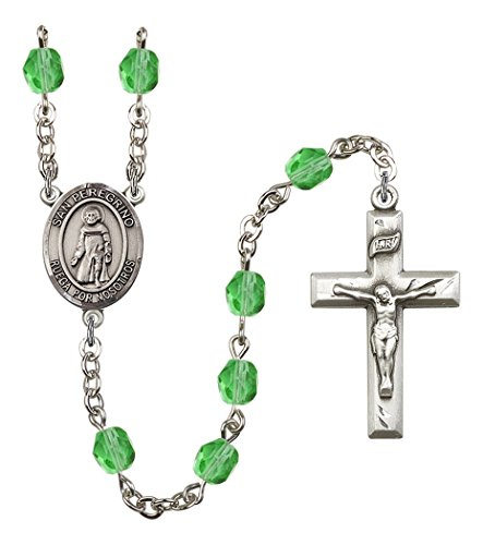 August Rosary (August Birth Month Prayer Bead Rosary with San Peregrino Centerpiece, 19 Inch)