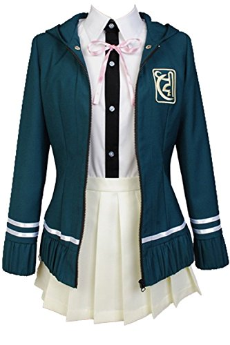 Ya-cos Cosplay Female High School Chiaki Nanami Cosplay Outfit Uniform Dress Green (Female:X-Small, Green)