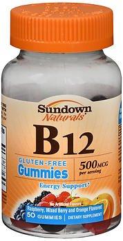 Sundown Naturals B12 500 mcg Dietary Supplement Gummies, Assorted Fruit - 50 ct, Pack of 2