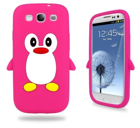 Samsung Hot Pink Penguin Silicone Case Cover with Free Custom Screen Protector, WirelessGeeks247 Metallic Detachable Touch Screen Stylus Pen and Anti Dust Plug for Samsung Galaxy S3 i9300 by BUKIT CELL (Image #4)