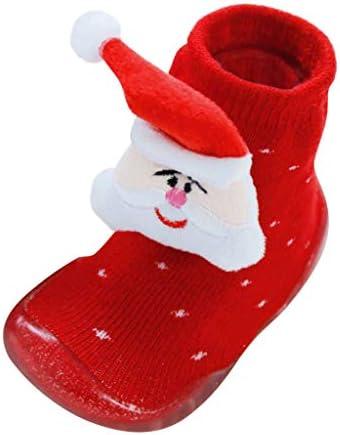 幼児の男の子の女の子のクリスマスの滑り止めの暖かい柔らかい底ゴム靴靴下