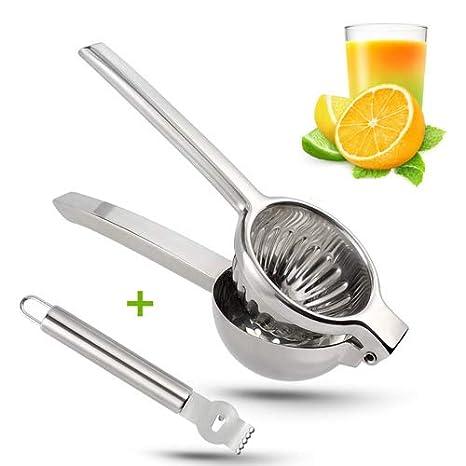 Exprimidor manual de limón de acero inoxidable, resistente, de alta resistencia, extractor de zumo, lima, cítrico, fácil de usar y limpiar Large