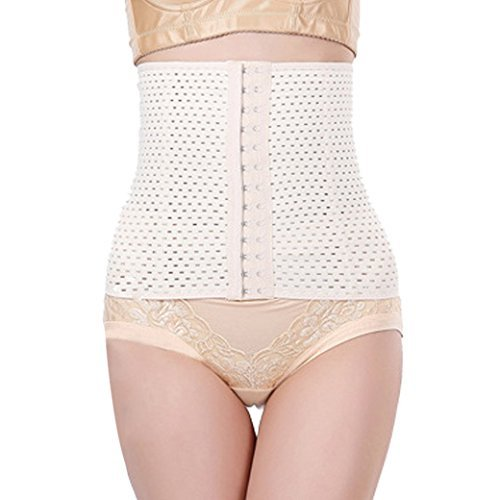 TANGDA Women's Elasticity Steel Boned Underbust Breathable Girdle Belt Waist Diet Corset Slimming Shaper Size L - Apricot by TANGDA by TANGDA