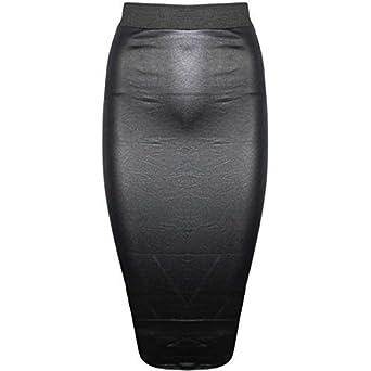 6aafa3a70c57e8 Pure Fashion - Jupe Crayon Mi-Longue Moulante Femme Formel Aspect ...
