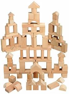 Amazon Com Maxim 100 Piece Natural Wooden Blocks Toys