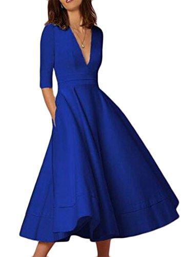 Eleganti Maxi Mezzo Altalena Donne Colore Solido V Blu Manicotto Jaycargogo Profondo Collo Di Abiti Del CI5S8wqv