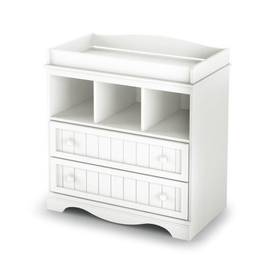 South Shore  Savannah 2-Drawer Changing Table, Pure White (White Table Baby Changing)