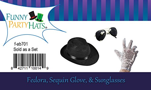 f4b3aec7e1d0b Set of 3 - Fedora Hat Sequin Glove And Sunglasses by Funny Party Hats