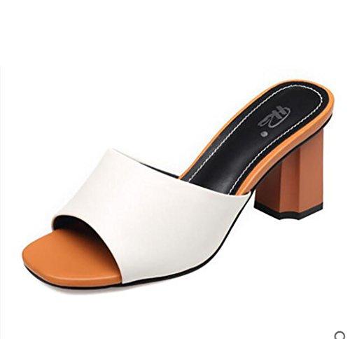 Sandales Chaussures Pour Femmes Sandales À Talons Épais Et Pantoufles Femmes Sandales De Mode Sandales De Confort Et Pantoufles Sandales Plates, Sandales De Mode (couleur: A, Taille: 36) A