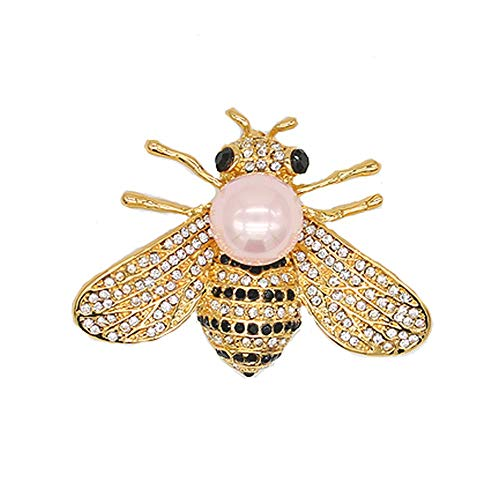 (Honey Bee Brooches Crystal Insect Themed Bee Brooch Animal Fashion Shell Pearl Brooch Pin Gold Tone (Pink)