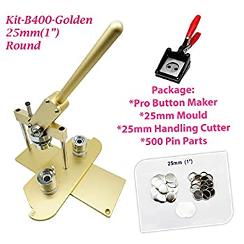 Image of ChiButtons (KIT) 25mm(1') Pro Badge Machine Button Maker-B400 + Mould + 500 Parts + Handling Cutter Metric System (Golden) Buttons