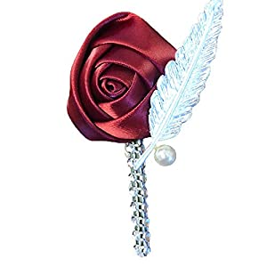 Abbie Home Classic Rose Boutonniere with Pin for Prom Party Wedding Formal Occasion - Pack of 2/4/6 (1pc, Burgundy) 39