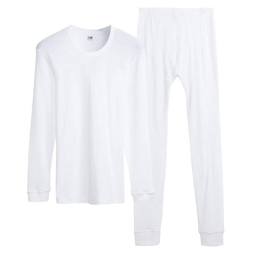 HNRYUDCF Für Männer eingestellt 100% Baumwolle Winter Rundhals Warm Ultra-Soft Solid Farbe Dünne Thermo-Unterwäsche Herren Pyjamas Weiß, XXXL