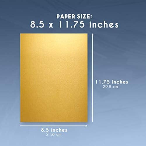 tama/ño A4 11,75 x 8,5 pulgadas Papel dorado met/álico cartulina 250 g//m/² 50 unidades de cartulina dorada met/álica papel brillante para manualidades