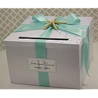 Wedding Card Holder Box Beach Theme White and Aqua Blue Customizable