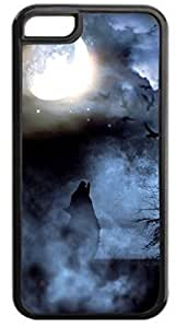 Howling Wolf-Night Mist - Case for the Apple Iphone 5C- Hard Black Plastic Snap On Case with Soft Black Rubber Lining wangjiang maoyi by lolosakes