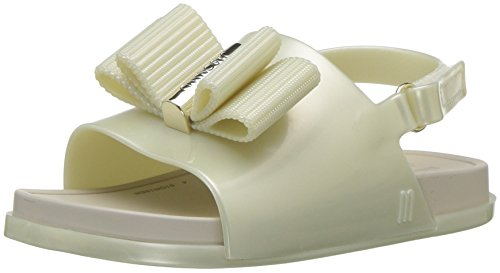 Mini Melissa Girls' Mini Beach Slide Sandal + Jason WU Flat, Pearl, 8 Medium US Toddler