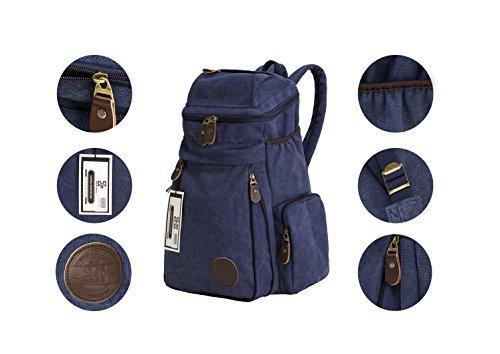 Viaje Vintage lienzo Mensajero Mochila Deporte mochila Camping escuela Satchel bolso senderismo Militar portátil bolsa equipaje de mano + libre tipo cartera para 24tarjeta por HiCollections, azul (mu azul