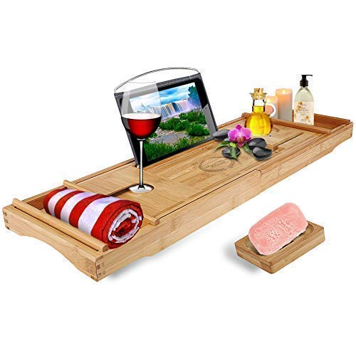 (Wood Worx Bath Essentials - Premium Bamboo Bathtub Tray Caddy & Soap Holder - Nonslip Wooden Tray with Expandable Sides, Book Tablet Holder, 2 Removable Trays, Wine Glass, Smartphone & Candle Slots)