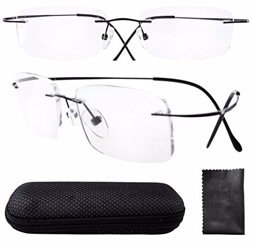 Light Weight Bendable Flexible Rimless Reading Glasses Unisex Frameless Crystal Lenses Eyewear Portable Compact Clear Vision Eye Glasses Optical Frames Business Glasses Black - Eyewear Brands Rimless