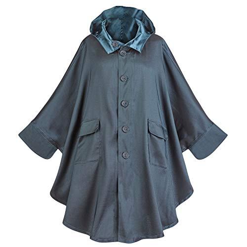 LINDI Women's Batwing Sleeve Hooded Rain Coat -Satin Finish to Matte Reversible - Blue - L/XL