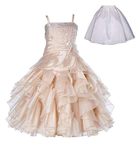 ekidsbridal Elegant Stunning Rhinestone Organza Pleated Ruffled Flower Girl Dress Free Petticoat 164s 6 Champagne