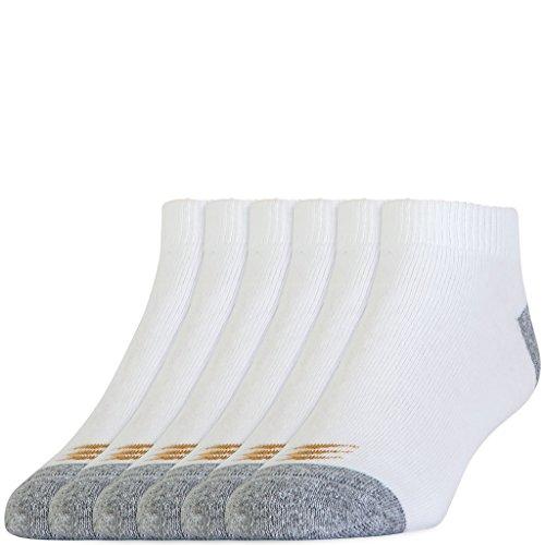 PowerSox Mens ALLSPORT Cotton Low Cut Socks, 6 Pairs, White, Shoe Size: 9-12.5