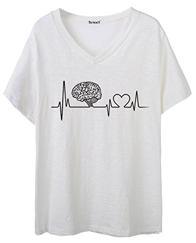 So'each Women's Love pattern Graphic V-Neck Tee T-shirt Ladies Casual Top