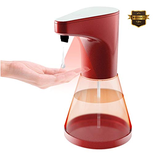 BuTure Automatic Soap Dispenser Touchless, Kitchen Sensor Soap Dispenser Dish Large Capacity Adjustable Soap Battery Operated Hands-Free Motion Bathroom Liquid Soap Dispenser Pump 17oz/520ml (Red)