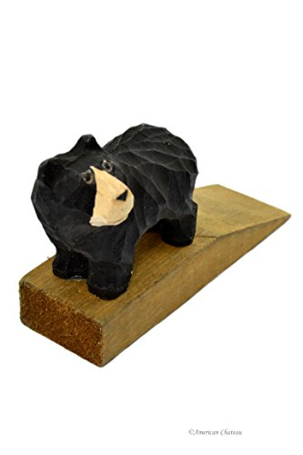 American Chateau Hand Carved & Painted Vintage Wood Bear Door Wedge Stop Stopper Cottage Decor